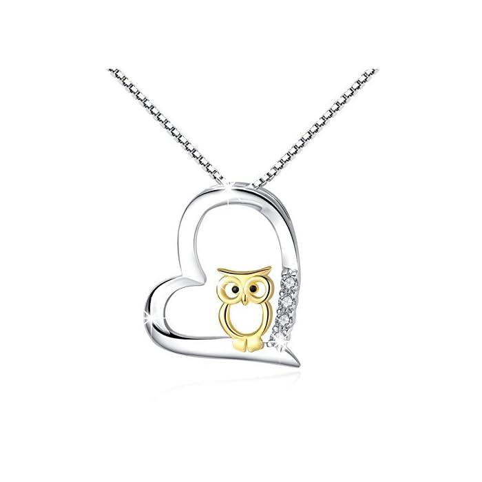 925 Sterling Silber Two Tone Eule Herz Anhänger Halskette Schmuck für Frauen Mädchen 1