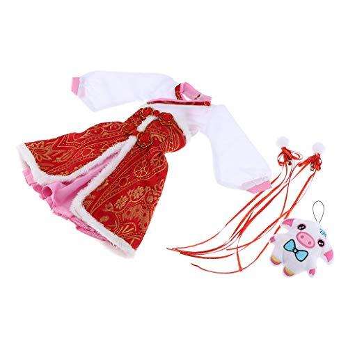 F Fityle Chinesischen Stil Puppenkleidung Puppenkleid Spiel Kleider für 1/3 BJD Mädchen 60cm Doll Puppen, Länge: Ca. 32 ()