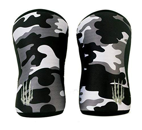 Knee Sleeves (SOLD AS A PAIR of 2) Compression and Support for Weightlifting, Powerlifting and weight train -5mm Neoprene Sleeve for the Best Squats - Women & Men - by Bear KompleX, BLACK CAMO 5mm XL (Power-camo Male)