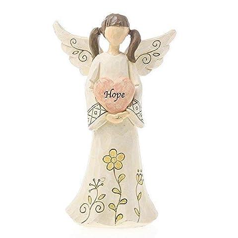 Shabby Chic Guardian Angel Holding Hope Heart Statue Figurine Ornament 20Cm