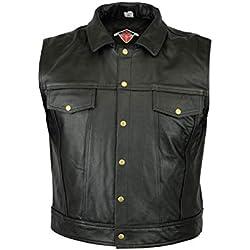 Texpeed Mens Wasik Black Leather Casual Waistcoat