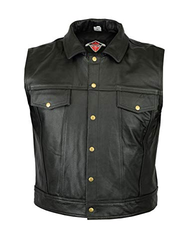 Texpeed Mens Wasik Black Leather Casual Waistcoat