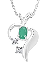 VK Jewels Green Stone Heart Silver Plated Alloy CZ American Diamond Pendant With Chain For Girls & Women [VKP3090R]