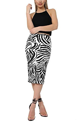 Zebra-print-thema (Islander Fashions Womens gedruckt Stretch bodycon Midi Rock Damen Fancy Party Wear Bleistift Rock Zebra Print Medium / Large)