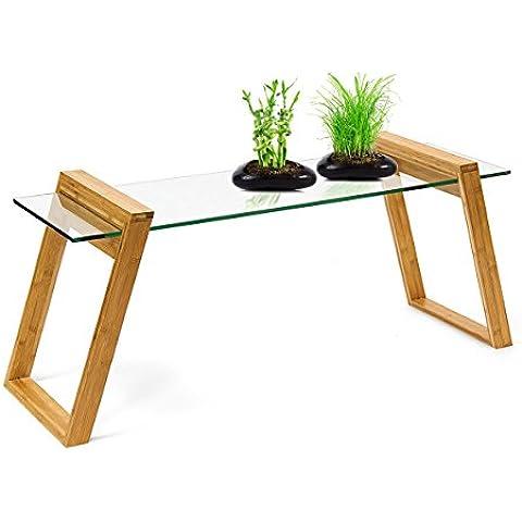 Relaxdays–10019029pequeña mesa de café con bandeja de cristal y madera de bambú Mukai mesa auxiliar salón noche pequeño moderna sobre elegante, naturaleza, 48x 110x