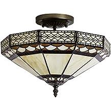 Plafón Tiffany, 2 luces, diámetro de 35 cm