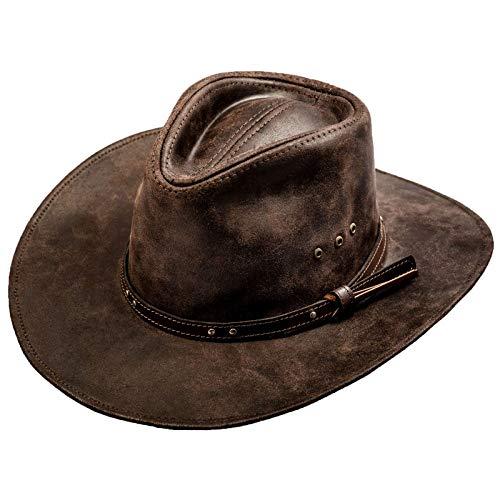 Sterkowski Chapeau de Cowboy en Cuir de Vachette - Marron - S