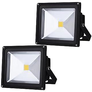Auralum 50W LED Floodlight Outdoor Lighting 4500LM IP65 Rainproof Exterior lighting Spot Lighting Energy Saving Flood Lamp with Black Shell White(6000-6500K)