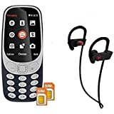 Twogood Multifunction A3310 Dual Sim Mobile With, Camera And FM Support With QC-10 Jogger SweatProof Sports Bluetooth 4.0 Headset