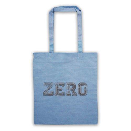 Zero Funny Slogan Tote Bag Azzurro