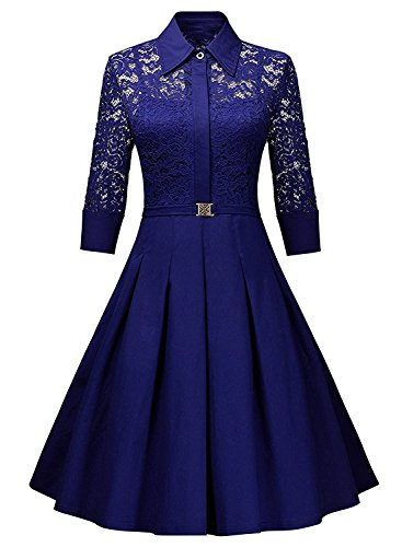 Kizu Enterprise Frocks for women western wear knee length (Free Size Royal Blue)