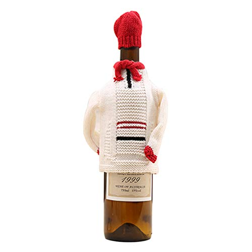 Toporchid Weihnachten Flasche Set Dekorationen für Wohnaccessoires Neujahr Strickpullover Rotwein Sets (Welle)