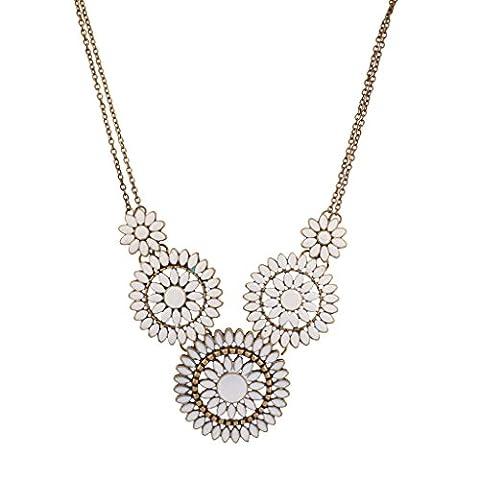 Lux Accessories White Flower Floral Design Statement Necklace