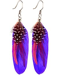 Hand made Silver Earrings with real bird feathers. These are very light in weight and easy to wear. Looks lovely on and can be worn on any happy occasion