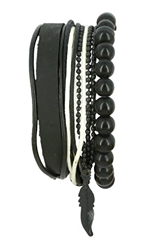 Einfach Indischen Kostüm Männer - ShalinIndia Schwarz und weiß indisches Thread-Holz Perlenschnur-Lederarmband für Männer - Lederarmband im Layered-Wrap-Stil für Männer