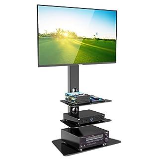 1home Meuble TV Verre Trempé Support Piotant pour Ecran Plasma LCD de 30 à 55 Pouce 3 Etagères …