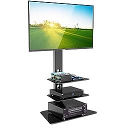 1home Meuble TV Verre Trempé Support Piotant pour Ecran Plasma LCD de 30 à 55 Pouce 3 Etagères