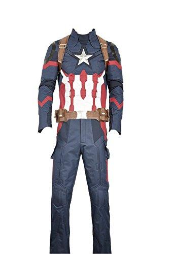 Cosplayfly, costume cosplay per adulti, da Capitan America (Steve Roger), in tessuto Oxford as photos Maschio XL