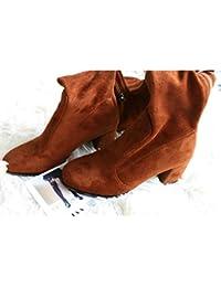 642d788287132d HOESCZS 2019 Frauen Winter Schuhe Über Die Kniehohe Stiefel Mode Plattform  Reißverschluss Karree Frauen Motorradstiefel Größe