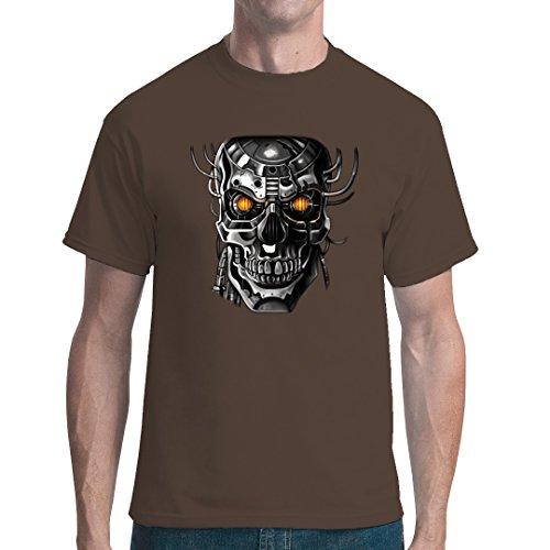 Fun unisex T-Shirt - Roboter Schädel by Im-Shirt - Bear Brown L (Schädel-brown-t-shirt)