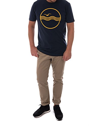 CLEPTOMANICX Herren T-Shirts Sea Gull Dark Navy / Spicy Lemon