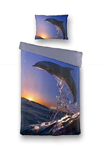 Aminata – bunte Bettwäsche 135x200 cm Baumwolle + Reißverschluss Delfin Meer Sonnenuntergang Bettbezug Fotodruck Dolphin Tier Fisch Strand Bettwäscheset Kinderbettwäsche Normalbettgröße Ganzjahr