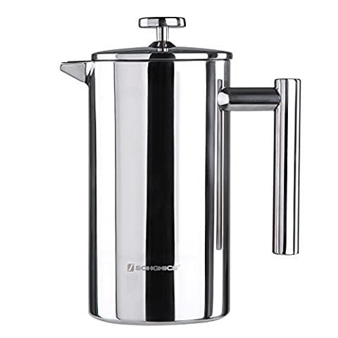 Songmics Stainless Steel Cafetiere French Press Double Walled Detachable with 2 Filters 1000 ml Silver GCP10S - Pistone Parete
