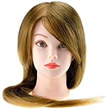 """22"""" Friseur Übungskopf 30% Echthaar blonde Haare Lange Haare Puppenkopf"""
