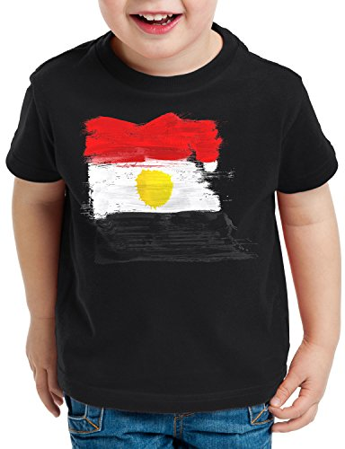 CottonCloud Flagge Ägypten Kinder T-Shirt Fußball Sport Egypt WM EM Fahne, Farbe:Schwarz, Größe:164