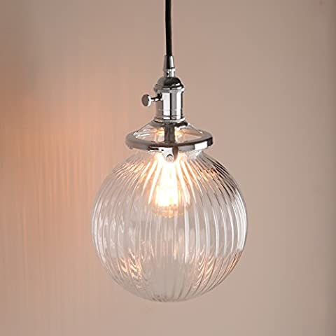 Pathson Industrial Vintage Modern Victoria Hanging Ceiling Pendant Light Fixture Loft Bar Kitchen Island Chandelier with Ribbed Globe Clear Glass Shade
