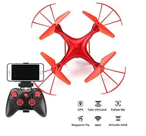 RCDNE Drone con Fotocamera WiFi Drone con Fotocamera HD da 5 MP Pieghevole RC Quadcopter 2.4G 6 Assi Giroscopio Headless Altitude Hold modalità Mobile App Controllo Traiettoria Volo