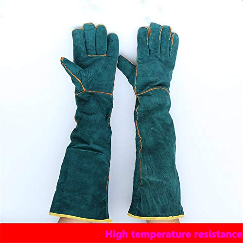 Split Rindleder Handschuhe (1 Paar Schweißhandschuhe, 58Cm / 23-Zoll-Länge Schulter Split Rindleder, Schaum Gefüttert, EXTAR LANG Für Mig, Tig Schweißer, BBQ, Gartenarbeit, Camping, Herd, Kamin)