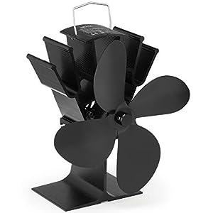 NETTA Stromloser Ventilator für Kamin Holzöfen Öfen – Geräuscharmer Betrieb 4 Rotorblätter Kamin – Ventilator Ofenventilator Feuerstelle Kaminöfen