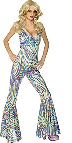 Smiffy's Adult Women's Dancing Queen Costume, Halterneck Catsuit, 70 Disco, Serious Fun, Size: S, 28074