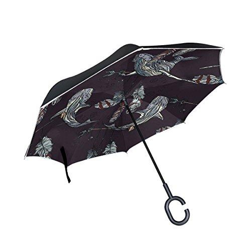 Mnsruu - Paraguas invertido de Doble Capa con diseño de Ballenas y atrapasueños, Paraguas Plegable Resistente al Viento, protección UV para Uso en Coche, Lluvia al Aire Libre con Mango en Forma de C