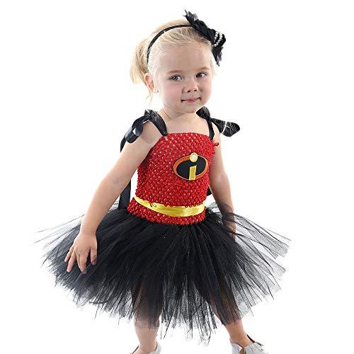 ZONA Elegent Kleinkind Mädchen Kleid Kostüm Ärmellos Tüll Patchwork Ballett Tanz Knielangen Halloween Ostern Karneval Süße Party Patchwork Schwarz Bezaubernd (Color : Black, Size : XL) (Zwei Stück Lyrischer Tanz Kostüme)