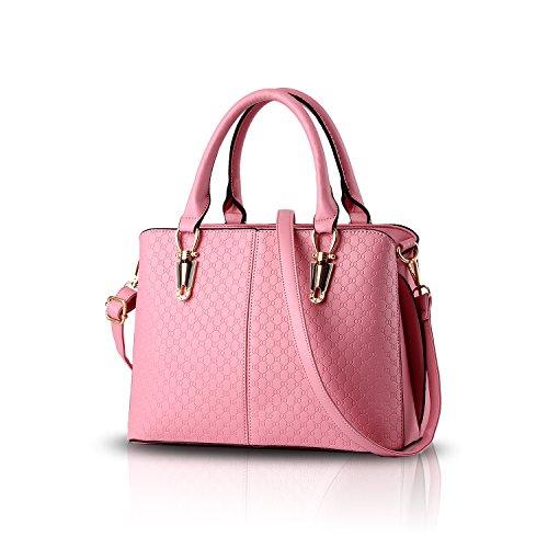 H&S Borsa a tracolla borsa in pelle goffrata borsa qualità Ms. borsa raccoglitore dell'unità di elaborazione Messenger bag big bag rosa
