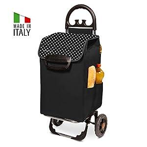 Einkaufstrolley XL Himy in schwarz mit 78L - großer & stabiler Einkaufsroller Trolley bis 50kg belastbar inkl. 7 Außentaschen