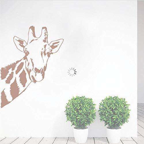 Fobostory Giraffe Kopf Vinyl Wandtattoo Safari Dschungel Thema Wohnkultur Wilde Tiere Wandkunst Aufkleber Zoo Park Vinyl Wandkunst Poster57X74 Cm