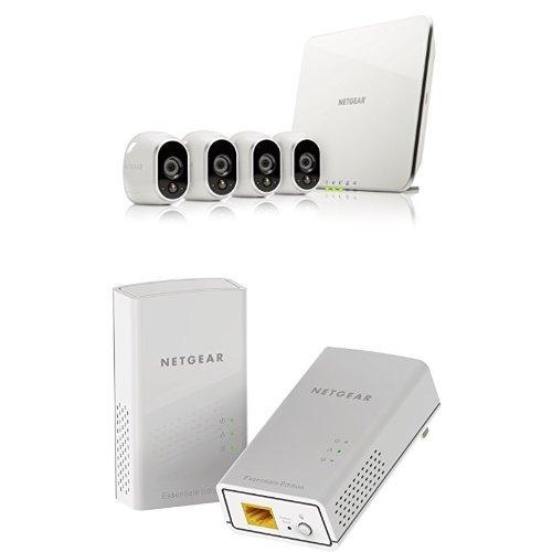 Netgear arlo vms3430-100eus kit con 4 videocamere hd wi-fi per la sicurezza domestica, interno/esterno, visione notturna, bianco  pl1000-100pes kit powerline av1000, 2 porte gigabit, velocità fino a 1 gbps, home plug av2, risparmio energetico, connessione sicura e veloce, bianco