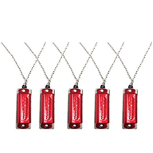 5 x Mini Harmonika, Halskette Schlüssel 4 Löcher 8 Töne Mundharmonika Tragbare Mundharmonika für Kinder Anfänger - rot