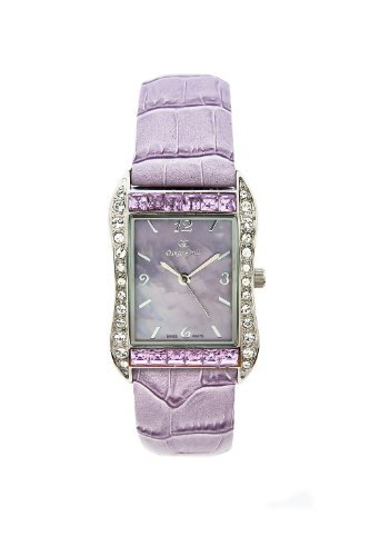 Oskar-Emil Rochelle Lilac Ladies Watch with Mother of Pearl Dial, Crystal Bezel & Lilac Leather Strap