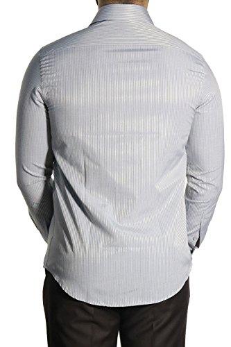 MUGA Homme Chemise à manches longues, cintrée Gris