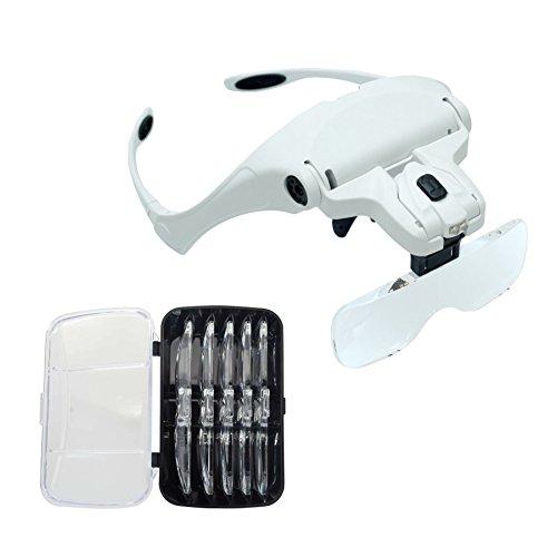 welinks Kopf tragen Lupe Objektiv Schmuck Lupe Schlüsselanhängerform Halterung/Kopfband Lupe mit 2LED-Lichtern, 5tragbar Austauschbare, Wechselobjektive: 1,0x, 1,5x, 2,0x, 2,5x, 3,5x