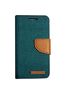 Aart Fancy Wallet Dairy Jeans Flip Case Cover for Micromax-Q372 (Green) By Aart Store