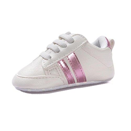 Turnschuhe Babyschuhe Neugeborenen Leder T-Strap Schuhe Sportschuh Jungen Lauflernschuhe Mädchen Krippeschuhe Krabbelschuhe Streifen-beiläufige Wanderschuhe LMMVP (Rosa, 13CM (12~18 Monate)) -