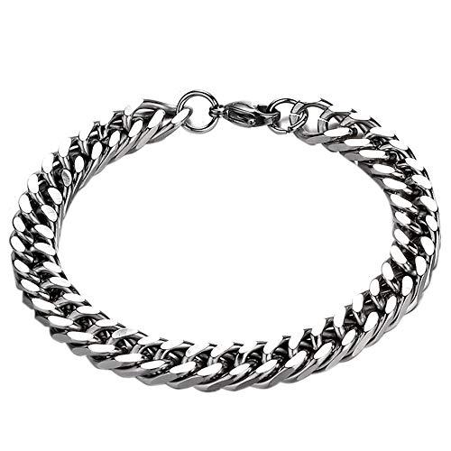 (LecimoMens Edelstahl Kette Klassische Armband Curb Link Mode Armband 19 CM)