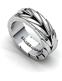 Silver Caiman, Men's Band Ring, Drake Band for Men from Vritra Collection (RIM0032 FB)