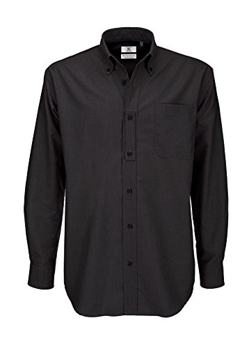 B&c mens oxford long sleeve shirt, camicia business uomo, (black 000), xxxx-large