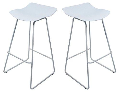 Lot de 2 tabourets de bar avec repose-pieds et piétement métallique / Petit prix / Collection BARISTA (Blanc)